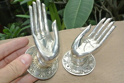 4 small BUDDHA Pull handle open hand brass silver door old style knob hook 6cm B 8