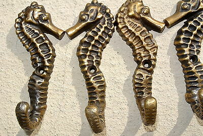 "12 small SEAHORSE BRASS HOOK COAT WALL MOUNTED HANG TROPICAL old style hook 3"" B 7"
