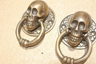 4 small SKULL head ring pull Handle cast BRASS day of the dead cabinet door 5cmB 7
