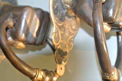 "2 Solid Brass FIST HAND Door Knocker PULL HANDLE ring 7"" aged old look heavy B 3"