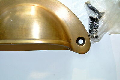 2 shell shape pulls handles heavy solid brass vintage aged style drawer 10 cm B 9
