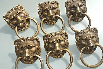 6 LION pulls handles Small heavy  SOLID BRASS old style bolt house antiques B 6