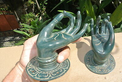 Pair BUDDHA Pull handle hand brass green patina door old style knob hook 8.5cm B 5