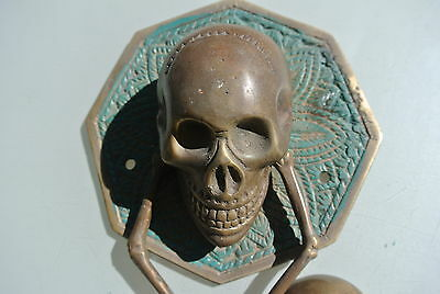 "aged SKULL handle KNOCKER PULL solid BRASS green old style DOOR amazing 5"" B 2"