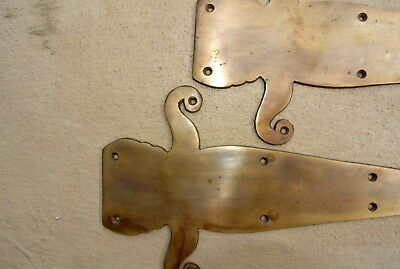 "2 medium false "" FLEUR de lis"" hinges PLATES solid Brass DOORS BOX  30 cm long B 4"