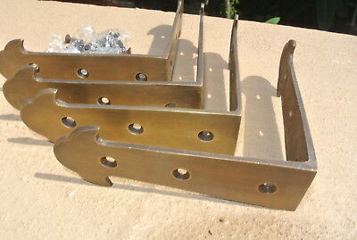 4 medium box table edge corner solid Brass antiques vintage style 10cm corners B 2