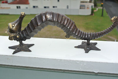 """small star SEAHORSE solid brass door aged old style house PULL handle 10"""" long B 3"""