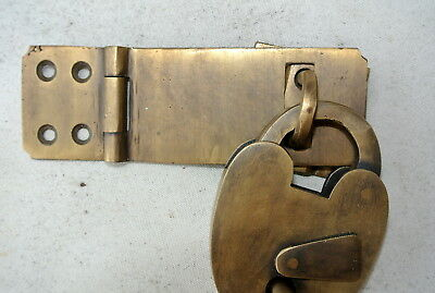 box & padlock catch hasp latch vintage style house DOOR Key heavy rectangle 3