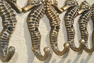 "6 small SEAHORSE BRASS HOOK COAT WALL MOUNTED HANG TROPICAL old style hook 3"" B 9"