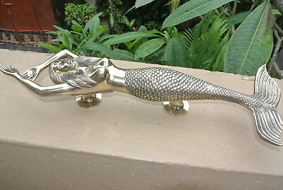 massive MERMAID solid brass door PULL old style heavy polished handle 49 cm B 10
