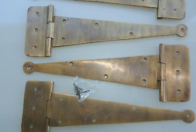 4 large hinges screws old aged style cast solid Brass DOOR BOX heavy 26cm long B 10