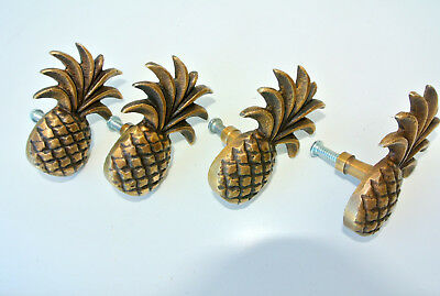 4 small Pineapple handles aged solid Brass PULL knobs kitchens antiques 6cm B 9