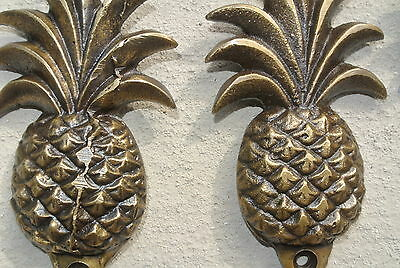 "6 small PINEAPPLE 100% BRASS HOOK COAT WALL MOUNTED HANG old style hook 4"" B 7"