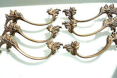 "6 old look french style pulls handles pair heavy brass vintage style doors 8""B 7"