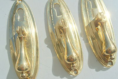 """6 LARGE 1920s pulls handles POLISHED  door old antique style drops knobs 4"""" KH 2"""