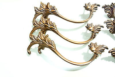 "6 old look french style pulls handles pair heavy brass vintage style doors 8"" 8"