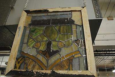 Antique Stained Glass Window,church, Flower,  multi colored, lead, vintage 4
