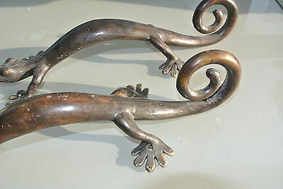2 large GECKO brass door vintage old style house PULL handle 35cm aged curly B 4