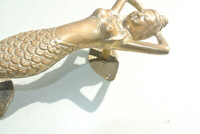 "medium MERMAID aged pure brass door PULL old style heavy house PULL handle 13"" B 9"