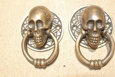 4 small SKULL head ring pull Handle cast BRASS day of the dead cabinet door 5cmB 6