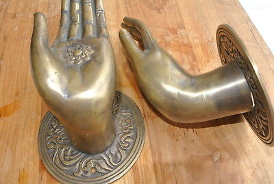 Pair large BUDDHA Pull handles hand aged heavy cast brass door old style 10 cm 10