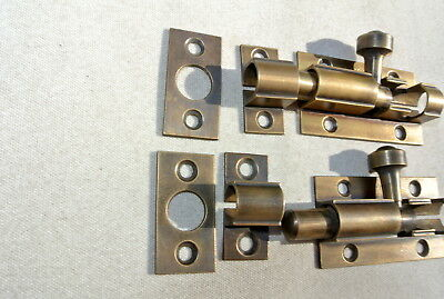 2 small BOLTS old style doors furniture heavy brass flush slide 65mm aged bolts 5
