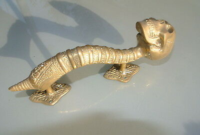 SKULL handle DOOR PULL spine solid age BRASS old look vintage style 210mm dull 5