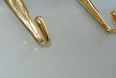 "2 small BULL COAT HOOK solid POLISHED brass vintage old style 6"" hook heavy B 7"