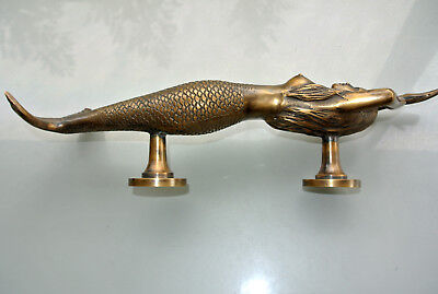 "large right MERMAID solid aged brass door PULL old style heavy handle 15"" longB 7"