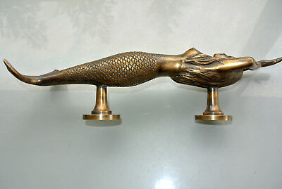 """large right MERMAID solid brass door PULL old style heavy house PULL handle15"""" B 7"""