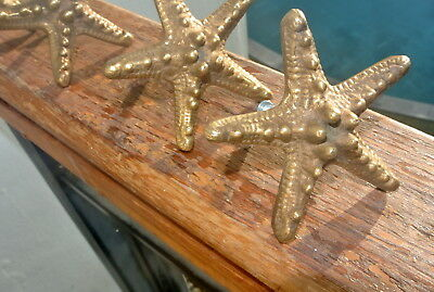 4 small STAR FISH solid BRASS knobs TROPICAL VINTAGE old style 70 mm B 7