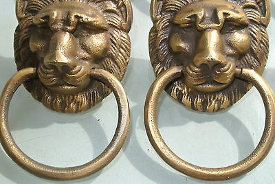 6 LION pulls handles Small heavy  SOLID BRASS old style bolt house antiques 3
