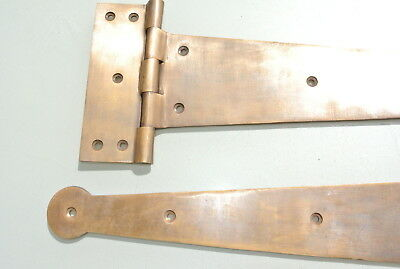 "2 massive hinges vintage aged style solid Brass DOORS BOX very heavy 18"" long 3"