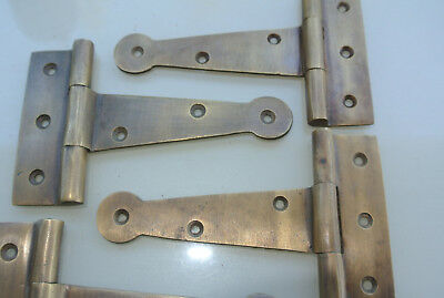 8 small hinges screws old aged style cast solid Brass DOOR BOX heavy 10cm long B 3