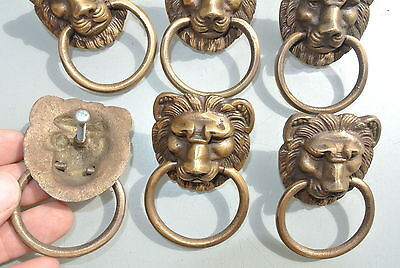 6 LION pulls handles Small heavy  SOLID BRASS old style bolt house antiques B 4