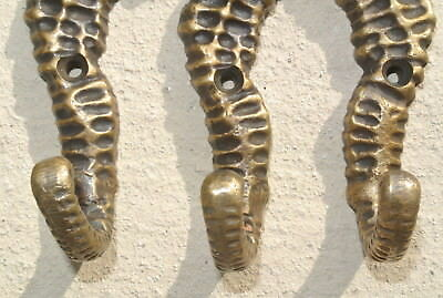 """4 small SEAHORSE BRASS HOOK COAT WALL MOUNTED HANG TROPICAL old style hook 3"""" 5"""