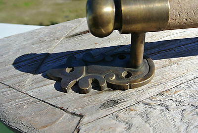 "DOOR handle pull solid brass ends wooden old vintage asian style look 13"" raw B 4"