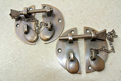 "2 small Door box Latch catch brass furniture age bolt chain asian style 2.3/4"" B 2"