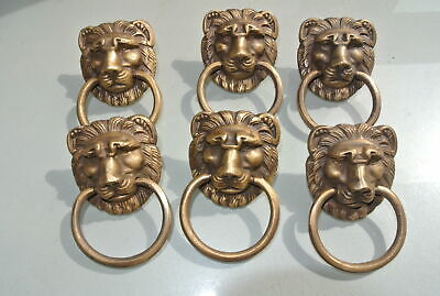 6 LION pulls handles Small heavy  SOLID BRASS old style bolt house antiques 8