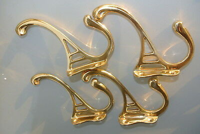 "4 POLISHED COAT HOOKS door solid brass furniture antiques vintage old style 4 ""B 3"