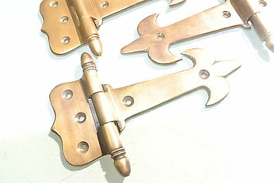 """4 small hinges vintage aged style solid Brass DOOR Stunning restoration heavy 5"""" 4"""