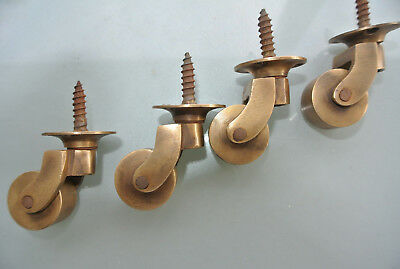 """4 screw castor chair table wheel solid brass 1.3/4 """"high castors old style lookB 4"""
