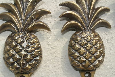 6 small PINEAPPLE solid BRASS HOOK COAT WALL Mount HANG  Polished hook 10 cm B 8