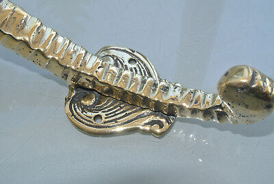 "small SEAHORSE solid brass door NATURAL old style house PULL handle 10""  B 11"