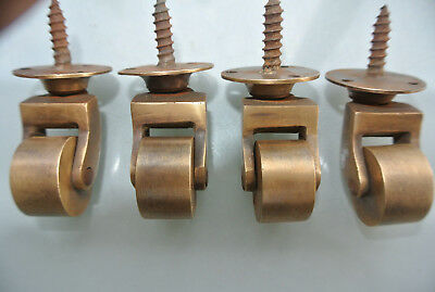 """4 screw castor chair table wheel solid brass 1.3/4 """"high castors old style lookB 2"""