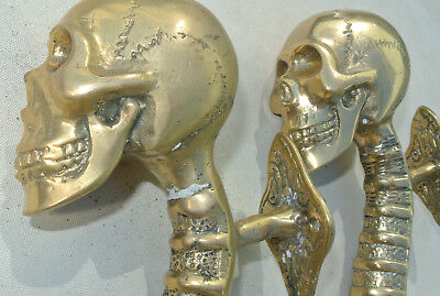 """2 small SKULL head handle DOOR PULL spine AGED  BRASS old style 8"""" B 2"""