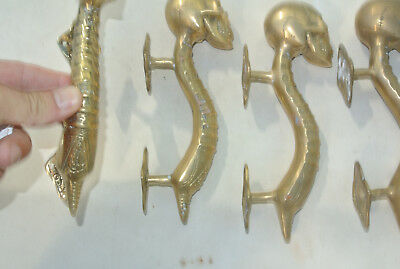 """4 small SKULL head handle DOOR PULL spine AGED  BRASS old style 8"""" B 4"""