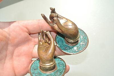 4 small green handle hand solid brass door old style knob hook 5.8 cm buddha B 2