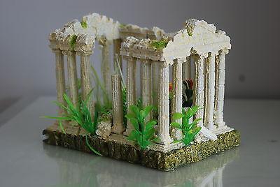 Aquarium Medium  Greek Temple Ruin Decoration & Plants & Airstone  18x12x13 cms 5