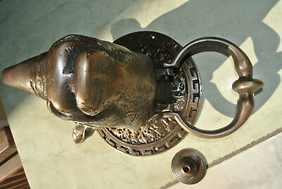 "RHINO heavy Door Knocker SOLID BRASS vintage age style house amazing 5.1/2"" B 6"